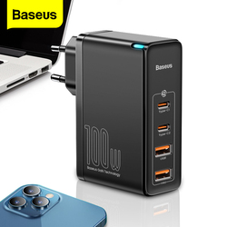 Baseus 100W GaN USB C Charger Quick Charge 4.0 QC 3.0 Type C PD Fast Chagring For iPhone 12 Samsung Xiaomi Macbook Phone Charger