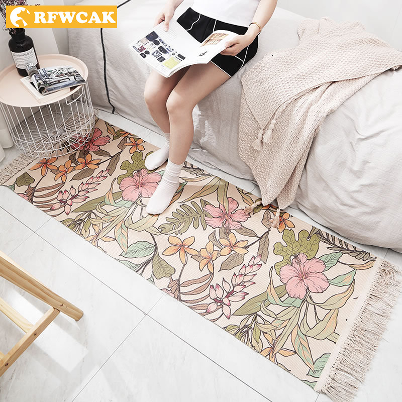 Soft Cotton Delicate Bedroom Carpets For Living Room Kid Room Table Rugs Home Carpet Floor Door Mat Decorate House Area Rug Mats