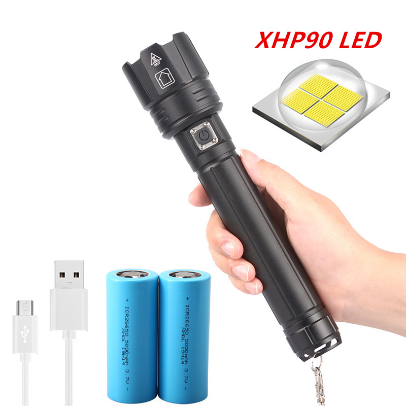 New Pattern Xhp90 Most Powerful Led Torches Led Flashlight Rechargeable Usb Hand Lamp 18650 26650 Tactical Flash Light