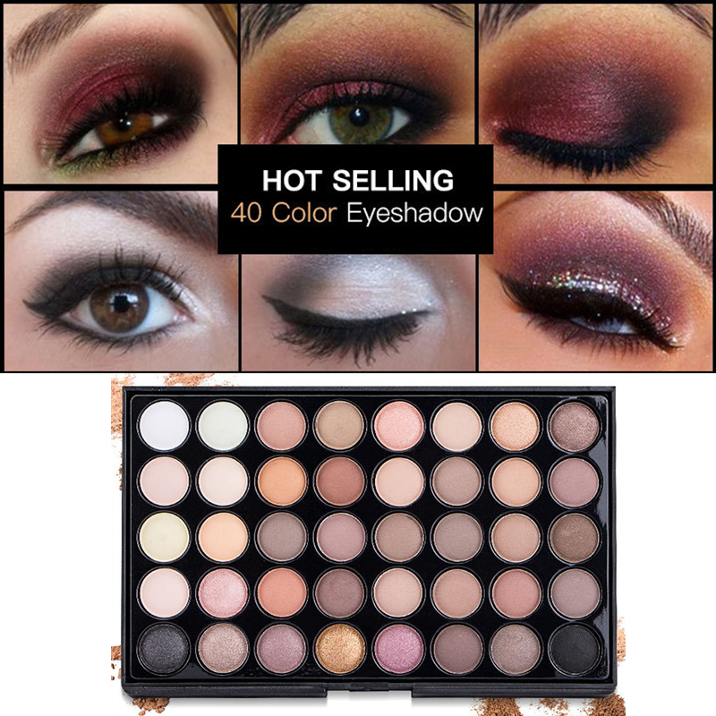 40 Colors Eye Makeup Nude Matte Shimmer Eyeshadow Palette Glitter Powder Smoky Eyeshadow Earth Ombre Brush Set Pigment Girl Gift