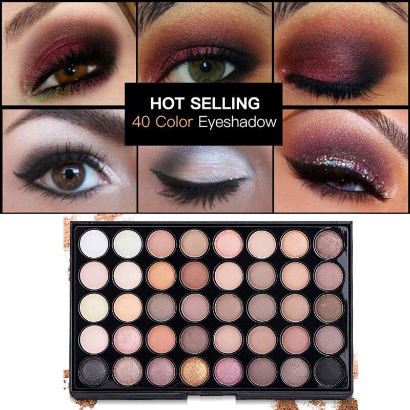 40 Colors Eye Makeup Nude Matte Shimmer Eyeshadow Palette Glitter Powder Smoky Eyeshadow Earth Ombre Brush Set Pigment Girl Gift