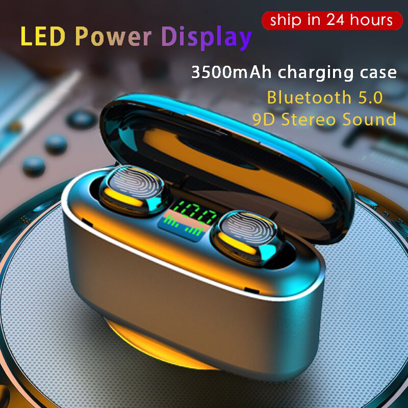 2020 NEW 3500mah LED Bluetooth Wireless Earphones Headphones Earbuds TWS Touch Control Sport Headset Noise Cancel Waterproof(China)