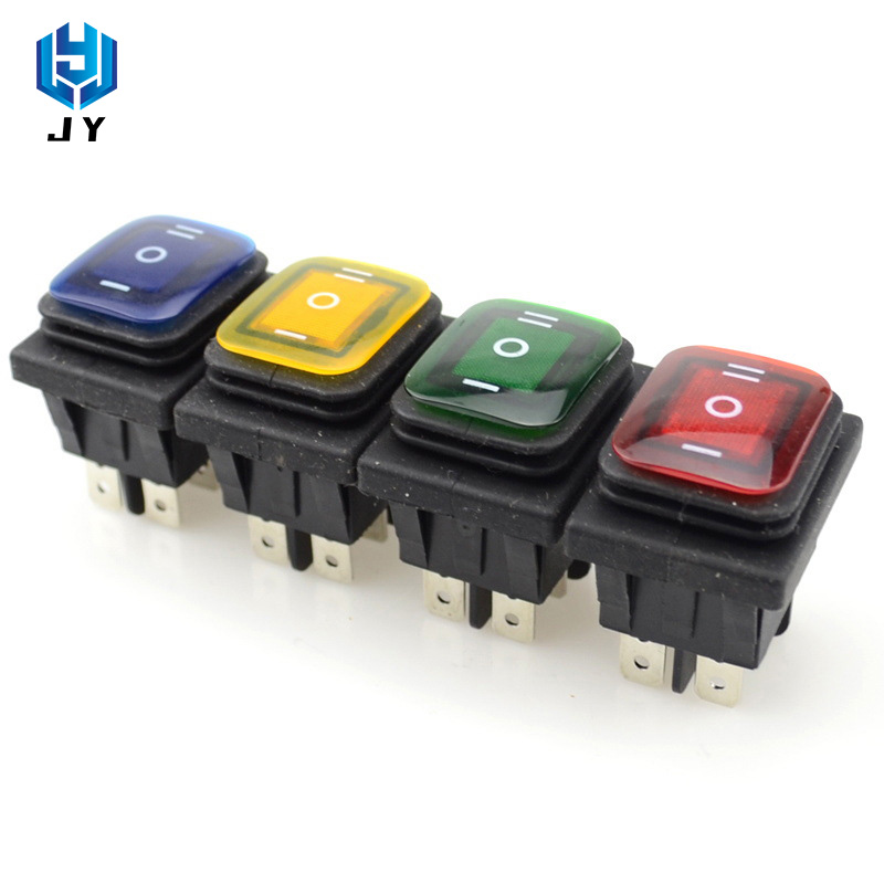 Marine Waterproof And Dustproof Switch 6-pin With LED12V / 220V 6-pin 3 Gear Red Green ON-OFF-ON
