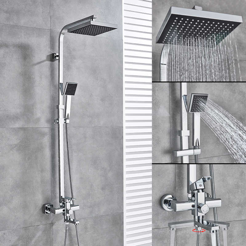 """Uythner najlepsza jakość chrom/czarny wanna bateria natryskowa kran obróć wanna wylewka do montażu na ścianie 8 """"opady deszczu głowica prysznicowa z prysznicem recznym"""