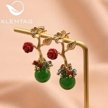 GLSEEVO Natural Pink Crystal Flower Leaf Drop Earrings Silver Piercing Dangle Original Handmade Fine Jewelry GE0090