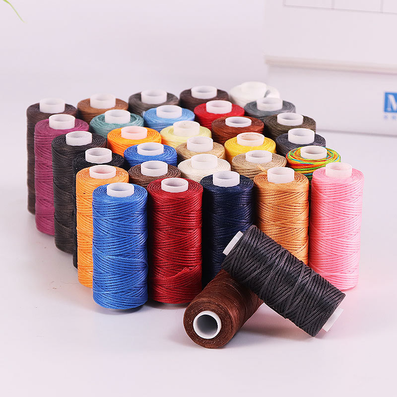 50M 150D 1mm Hand Stitching Waxed Thread Flat Waxed Sewing Line Thickness Waxed Thread For Leather Waxed Cord For Leather Craft