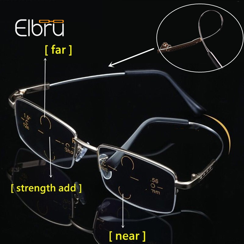 Elbru Anti-blue Light Metal Titanium Multifocal Progressive Glasses Women&Men Anti-fatigue Magnifying Presbyopia Eyeglasses