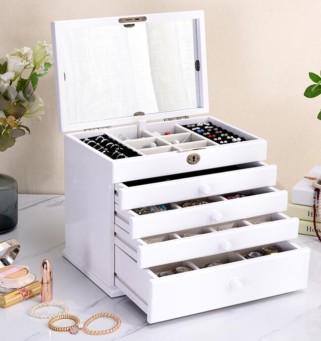 the mirror Solid wood wooden box makeup Storage Boxes jewerly box organizer retro style large multilayer