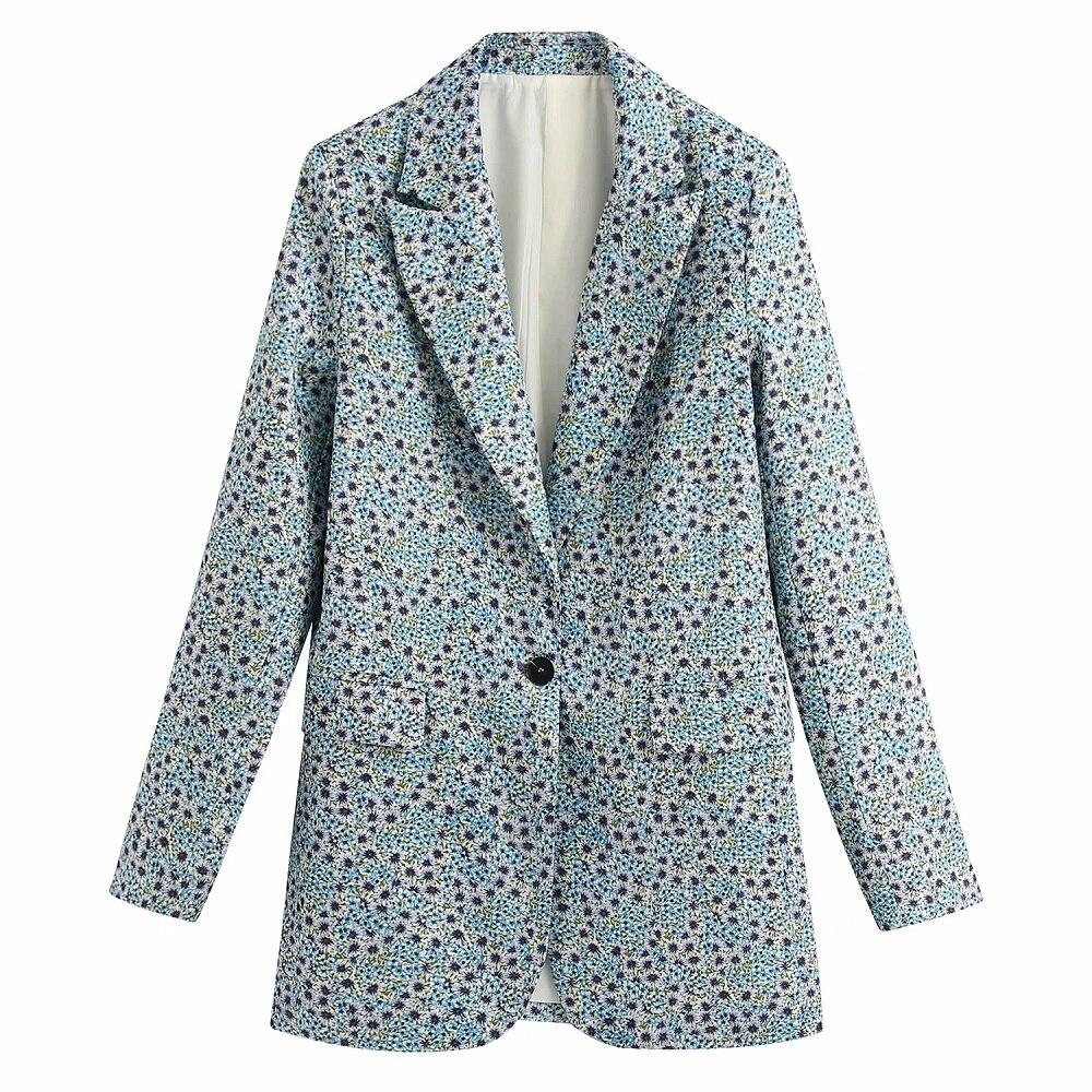 Vintage Elegant Floral Print Blazers Women Fashion Notched Single Button Suit Pockets Ladies Chic Casaco
