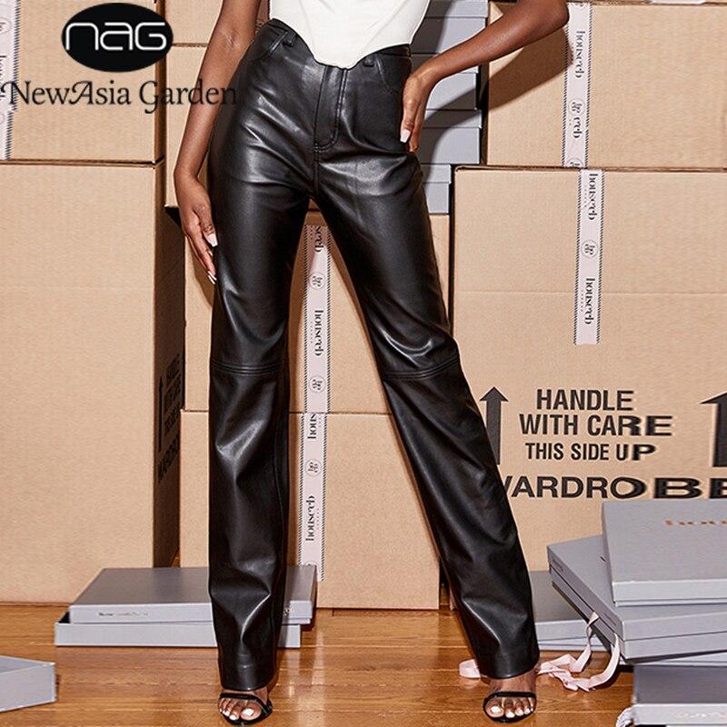 NewAsia – pantalon en cuir noir, taille haute, bouton, ample, Long, vêtements de fête, décontracté, mode Streetwear, nouvelle collection 2020