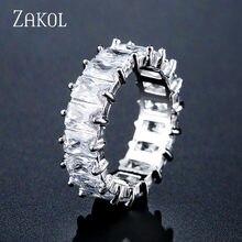 Zakolファッションmutilcolor aaaバゲットキュービックジルコニアの結婚指輪女性の高級t形状ストーンパーティージュエリーFSRP2119