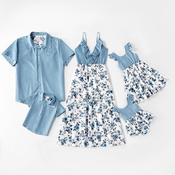 Denim Family Matching Outfits Look Tank Flower Mother Daughter Dresses Mom Baby Mommy and Me Clothes Short Sleeve Dad Son Shirts - SLL-C (Light Blue), Mom S