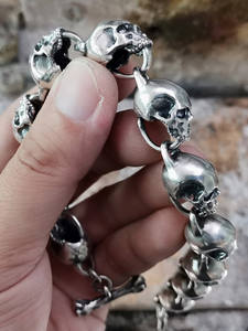 LINSION 925 Sterling Silver Huge Details Skulls Chain Mens Biker Punk Bracelet TA170