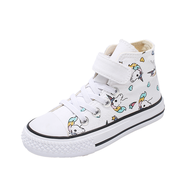 2019 Girls Unicorn Boots Rainbow Vulcanized Canvas Boots Big Girls And Boys Sneakers Winter Ankle Boots Hook & Loop Shoes 25-38
