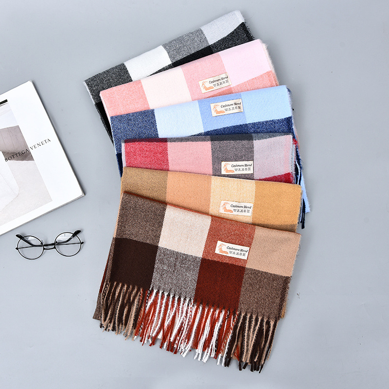 Korean-style Autumn And Winter New Style Faux Cashmere Plaid Scarf Women's Shawl Dual Purpose Warm Tassels Scarf 250G Currently