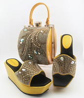 Rhinestone Wedding Party Shoes Nigerian Party Pumps Italian Shoes with Matching Bags for Wedding Yellow Italy Shoes and Bag Set