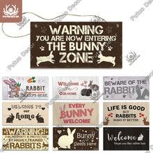 Putuo Decor Rabbit Signs Pet Gifts Plaque Wood Lovely Friendship Wooden Pendant for Pet Rabbit Houses Decor Home Decoration