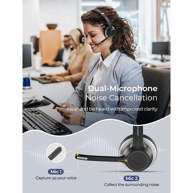Mpow HC5 Bluetooth 5.0 Headset For Call Center Driver Office Wireless Wired 2 in 1 22h Battery Life CVC 8.0 Noise Cancelling Mic 2