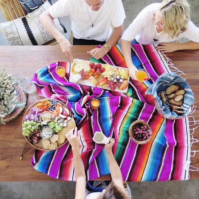 Multifunction Table Flag Ethnic Wind Blanket Beach Towel Mexican Style Picnic Handmade Striped Blanket Tassel Travel Portable(China)