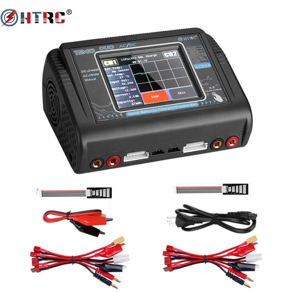 Asli HTRC T240 C240 DUO Lipo Charger Dual Channel AC DC 150W 240W Touch Screen Balance Charger Discharger untuk Model RC Mainan