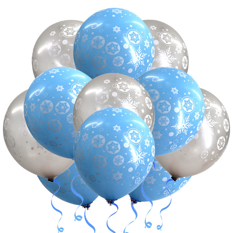 10pcs 12 inch Blue Balloons Frozen Snowflake Balloons Ice <font><b>Princess</b></font> <font><b>Party</b></font> Birthday Decor Girl Wedding <font><b>Party</b></font> Supplies balloon image