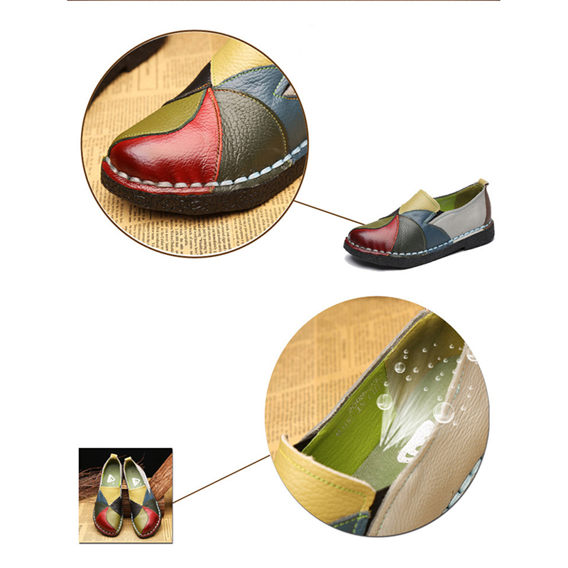 Spring Summer New PU Leather Women Flats Mixed Color Slip on Shoes for Women Moccasins Ladies Shoes Zapatos De Mujer VT660 (3)