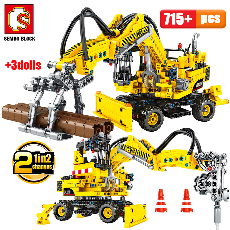 SEMBO BLOCKS City Engineering Truck Forklift Building Blocks Legoingly Technic Car Construction Vehicle Bricks Toys For Children