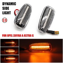 For Opel Zafira A 1999 2005 Astra G 1998 2009 LED Dynamic Side Marker Turn Signal Lamp Blinker Flowing Water Flashing Light