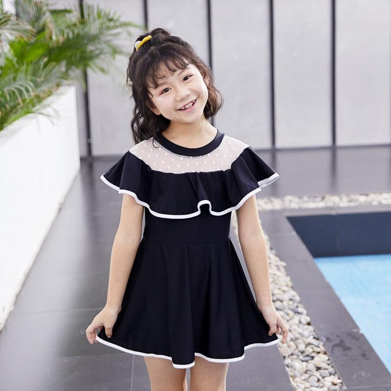 2019 Baby New Style KID'S Swimwear Girls One-piece Black And White With Pattern Sun-resistant Holiday Fashion Swimwear Baby Swim
