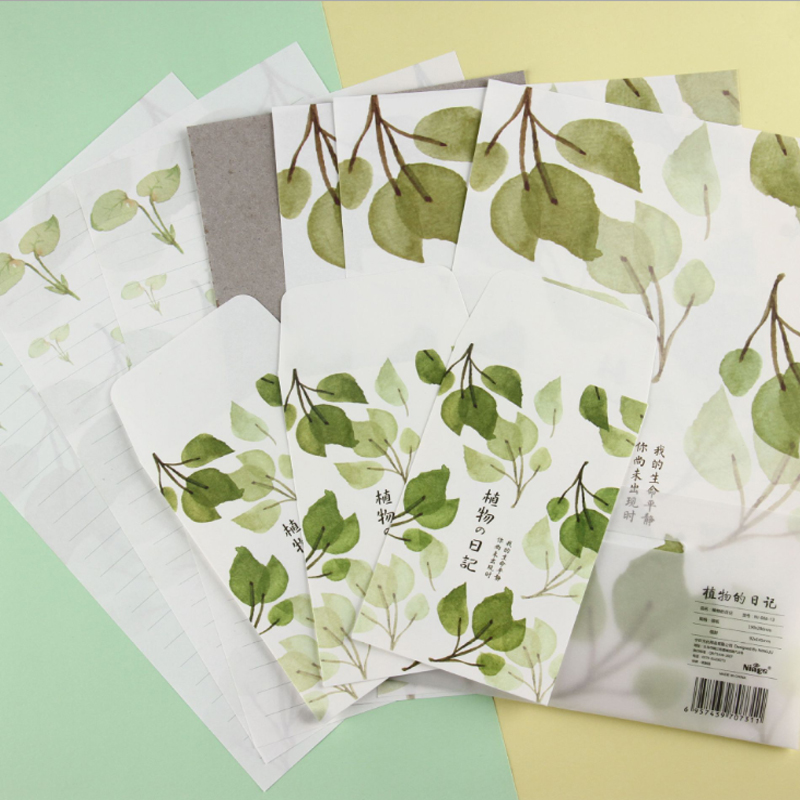 1set/pack Cute Watercolor Plant Diary Big Envelopes Stationary Paper Envelopes Office School Invitation Supplies
