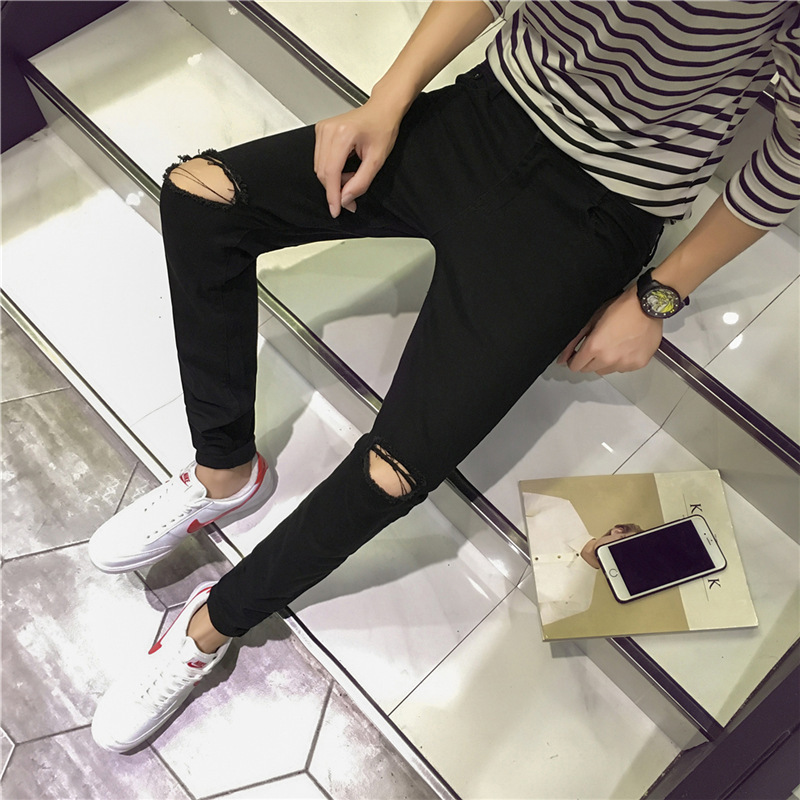 New Style Korean-style Slim Fit Black Jeans Knee With Holes Skinny Black And White With Pattern Tight-Fit With Holes Pants Men's