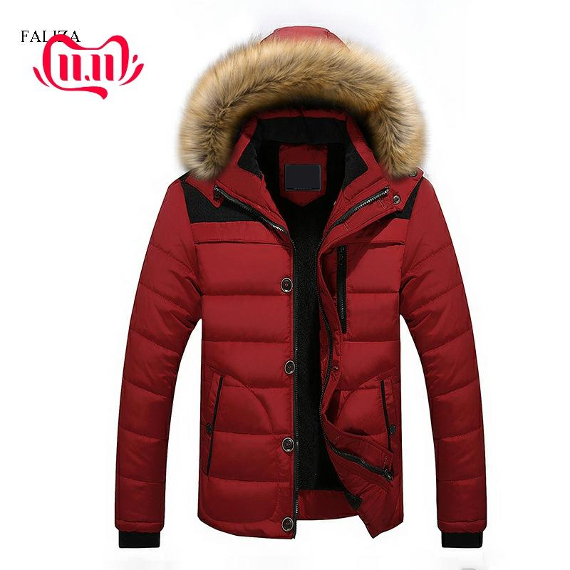 FALIZA Plus Size 6XL Winter Mens Polyester Down Jacket Mens Warm Thick Parka Cotton Parka With Fur Hood Men Outwear Jacket MY002