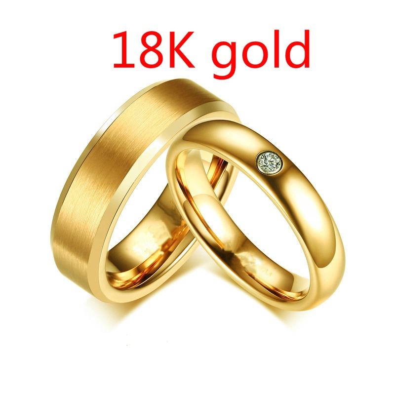 Two-color Wedding Engagement Ring Fashion Classic Men and Women Jewelry Stainless Steel Ring Surprise Gift for Couples