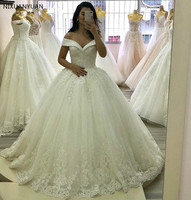 Hand Working Crystal Wedding Dresse Beading Court Train Lace Applique Tulle Wedding Gown with Lace Up Back Vestido De Noiva