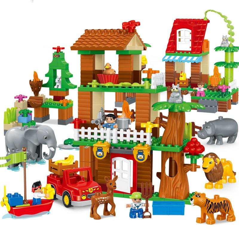 QWZ Новые блоки в виде животных джунглей большого размера, совместимые с Duploed кирпичи, строительные блоки, игрушки для детей, подарок