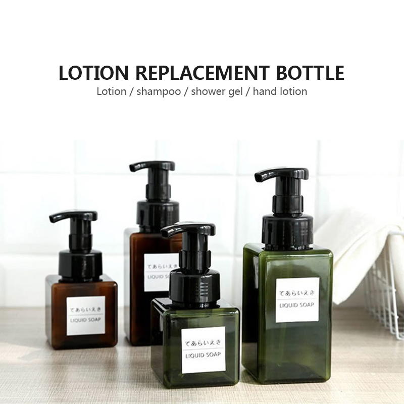 100ml Foam Pressed Pump Refillable Bottle Shampoo Empty Lotion Container Square Shaped Soap Shower Gel Dispenser Bathroom Supply