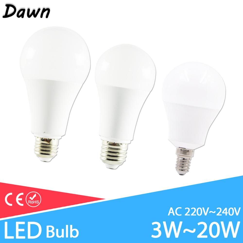 LED Lamp Dimmable Led Bulb E27 E14 AC 220V 240V Smart IC Real Power Lampada Led 20W 18W 15W 12W 9W 6W 3W LED Bombilla Ampoule