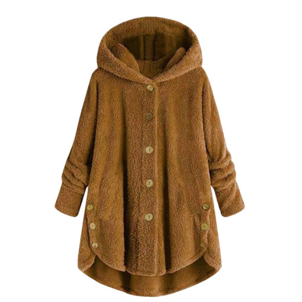 5Xl 2019 Winter Jassen Nieuwe Mode Vrouwen Knop Pluche Shirt Jasje Onregelmatige Kleur Bont Jas Plus Size Vrouwen parka