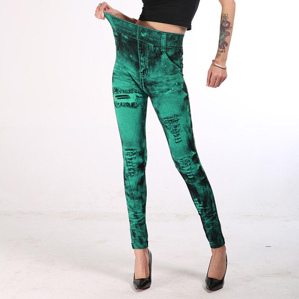 2019 Fashion Women Stretchy Imitation JeansDenim Leggings High Waist Skinny Pants Material: Cotton, Spandex