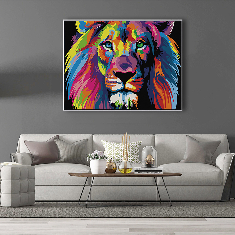 Hc7b1a42f1e4242b59c1e8cf7e60f834a2 SDOYUNO 60x75cm Frame DIY Painting By Numbers Kits Colorful Lions Animals Hand Painted Oil Paint By Numbers For Home Decor Art