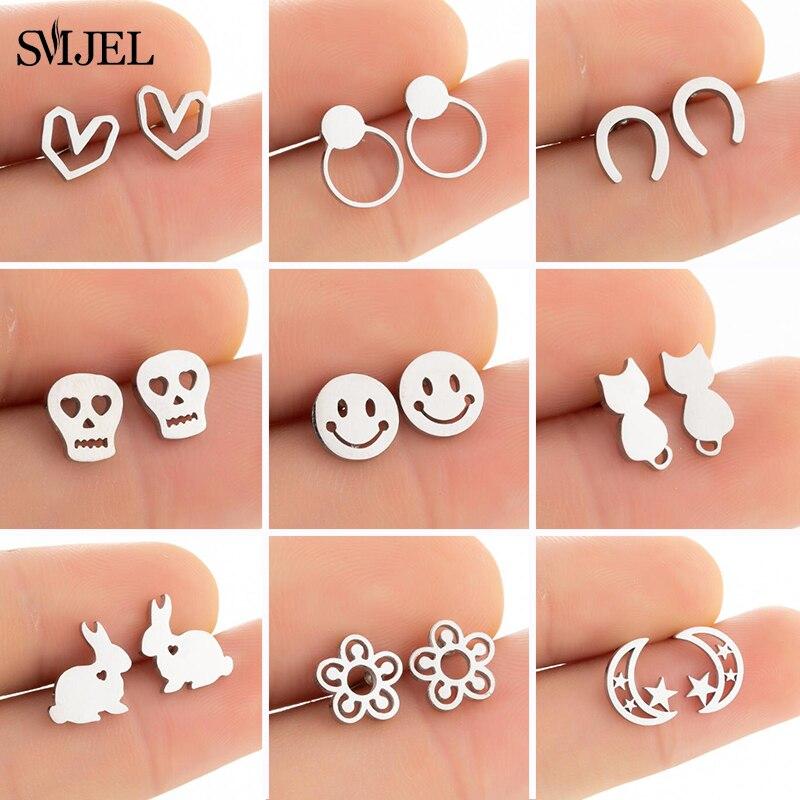 SMJEL Tiny Stainless Steel Earrings for Women Kids Geometric U Horse Skull Smile Face Heart Earrings Korean Daisy Flower Studs
