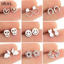 SMJEL Tiny Edelstahl Ohrringe für Frauen Kinder Geometrische U Pferd Schädel Lächeln Gesicht Herz Ohrringe Koreanische Daisy Blume Studs