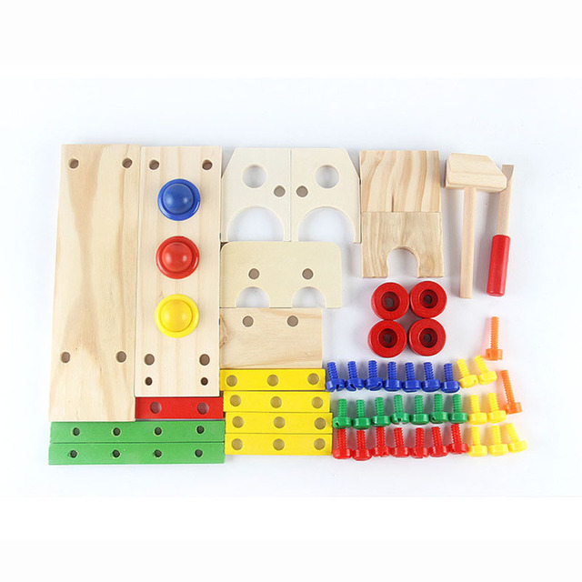New Kids Wooden Screwing Blocks Game Assembly Disassembly Engineering Car Puzzle Toy Baby Educational Toys for Children Boys