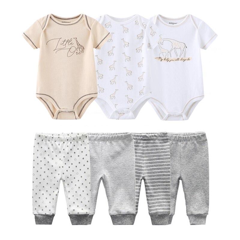 Летний комплект одежды унисекс для новорожденных мальчиков и девочек 0 12 месяцев, хлопковые комбинезоны для детей + штаны, комплект одежды для малышей, Ropa Bebe|Комплекты одежды| | АлиЭкспресс