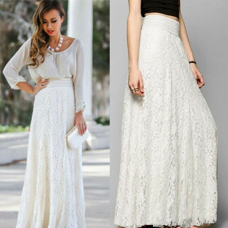 Long Elegant Skirt Female Elastic High Waist Non-transparent  Boho Solid Summer Maxi Skirts Lace Solid Casual White Beige