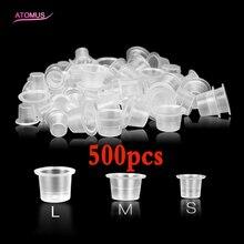 לערבב 500pcs S/M/L קעקוע אביזרי Supplis חד פעמי פלסטיק Microblading קעקוע דיו גביע שווי פיגמנט ברור מחזיק מיכל