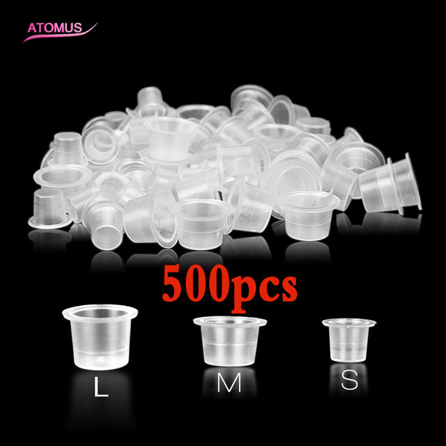 Mix 500pcs S/M/L Tattoo Accessories Supplis Disposable Plastic Microblading Tattoo Ink Cup Cap Pigment Clear Holder Container