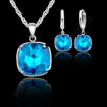 Christmas Gift 925 Sterling Silver Square Pendant Necklace Earrings For Women Girls Best Wedding Jewelry sets(China)