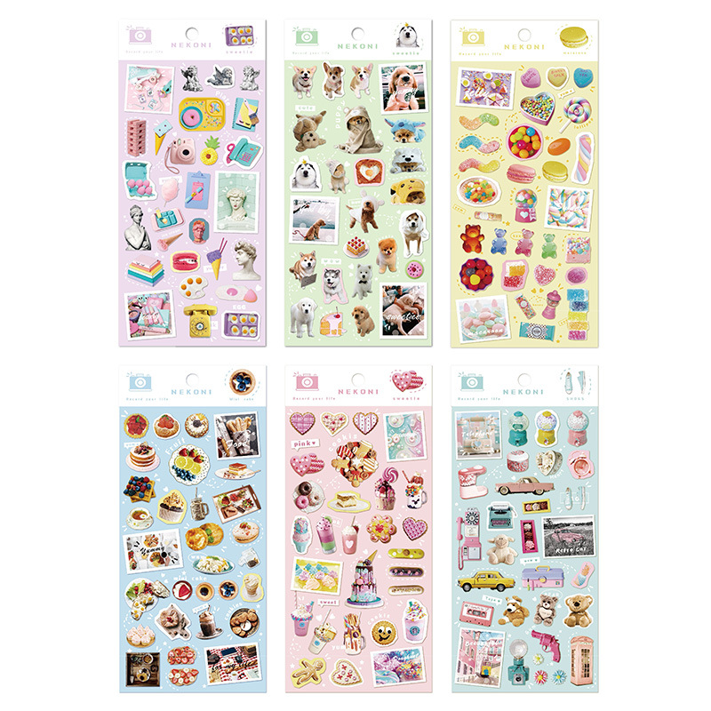 Kawaii Ice Cream Candy Teddy Bear Nekoni Bullet Journal Decorative Stationery Stickers Scrapbooking DIY Diary Album Stick Lable
