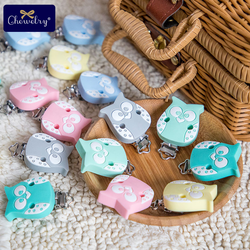 1pc Nipple Holder Pacifier Clips Of Cartoon Owl Butterfly Silicone Infant Teethers DIY Nursing Soother Clips Chains Baby Product